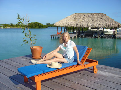 Sitting on the dock at private St. George's Caye Resort
